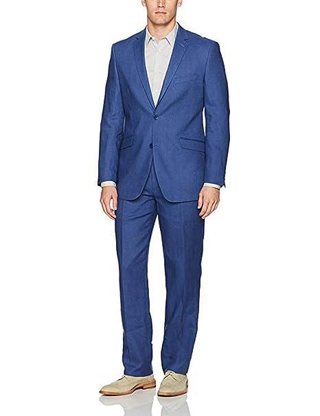 High-End Suits Traje de Lino para Hombre de 2 Piezas 0597789399f