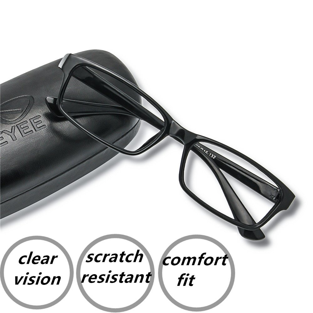 EyeYee Reading Glasses +2.00 Black- Rectangle Full Rim Anti Reflective Mens Womens Eyeglasses Readers Comfortable stylish glasses