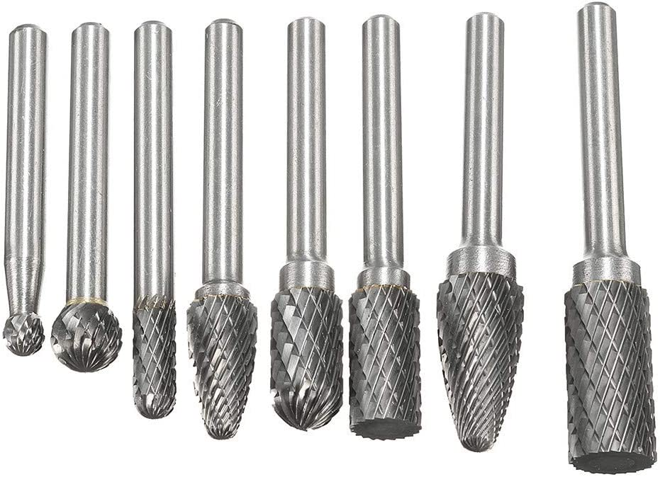 chemical automobile craft sculpture ect shipbuilding JUNLIN 8X 1//4/'/'Carbide Rotary File Power Tools Double Cut Set For machinery