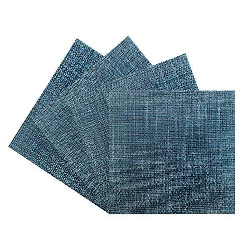 Benson Mills PM Tweed Woven Vinyl Placemat (Set of 4), Midnight