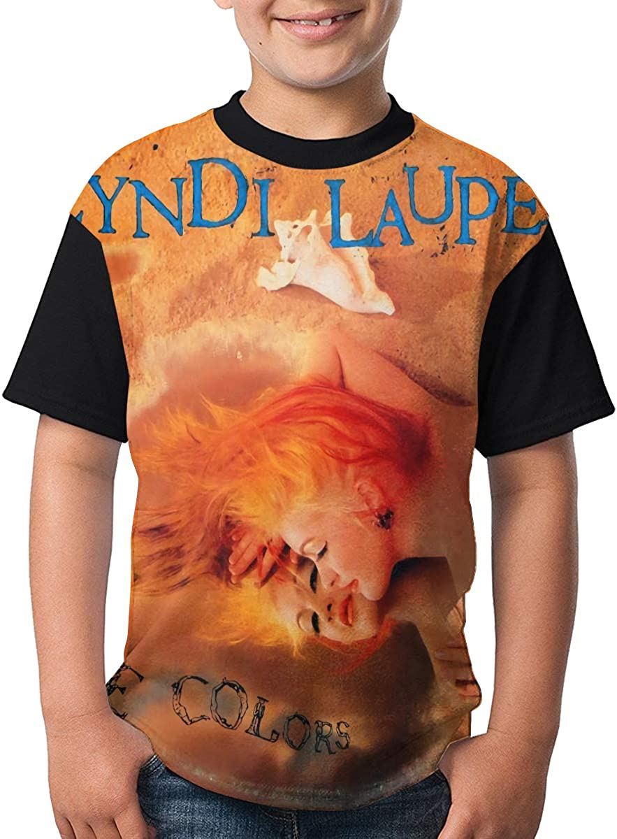 LisaJYancey Cyndi Lauper T Shirt Youth Boy Shirt Round Neck Short Sleeve Tees