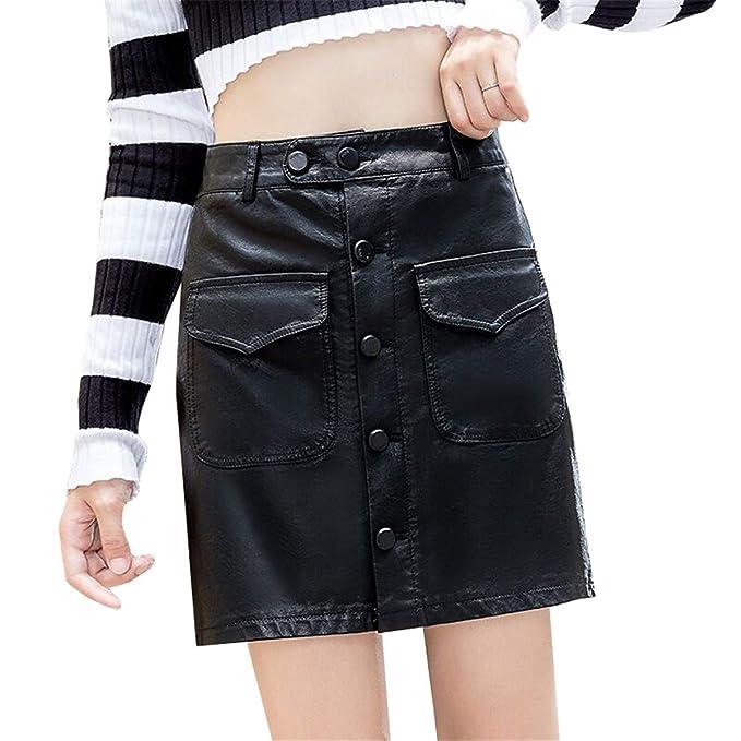 Skitor Elegante Slim Skirt Cuero Mujer Falda Lápiz Corte Ajustado ...