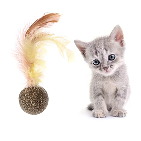 Yanhonin Juguete para Gato, Bola de Hierba de Gato, Catnip Juguete Gatos, Gato