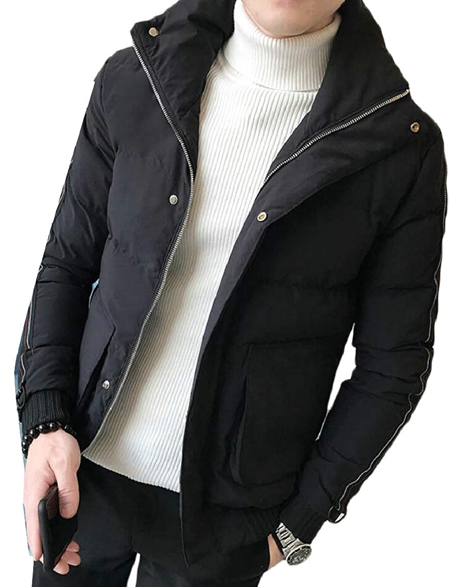 HTOOHTOOH Mens Warm Winter Quilted Zip Thick Stand Collar Down Jacket Coat