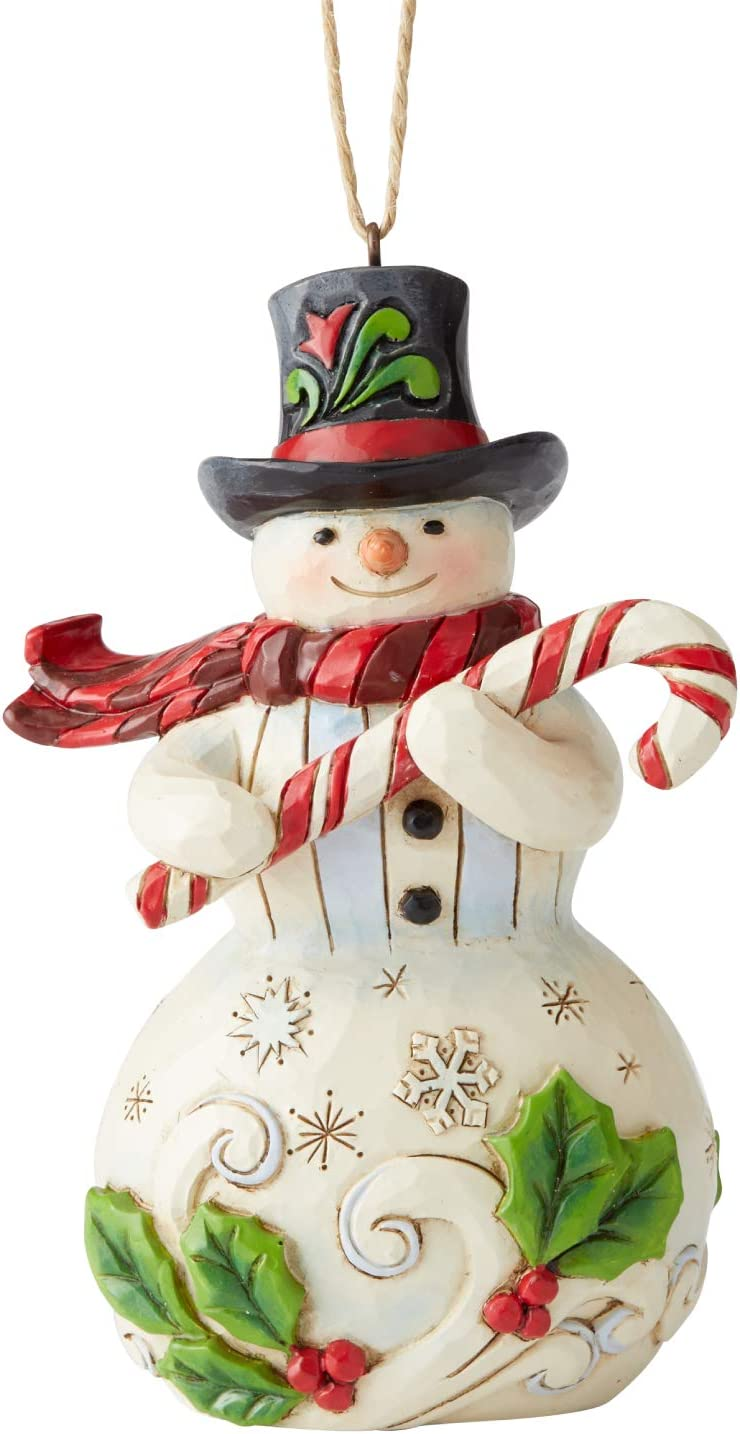 Enesco Jim Shore Heartwood Creek Snowman With Candy Cane Hanging Ornament 4 75 Inch Multicolor Home Kitchen