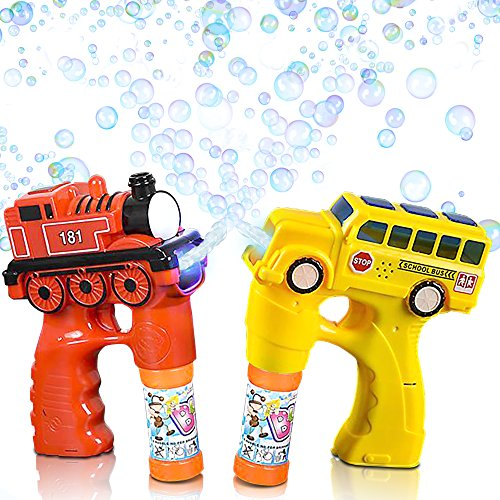 Bus & Train Bubble Blaster Gun Set by ArtCreativity, with Exciting LED and Sound Effects | Includes Train & Bus Bubble Blower with 4 Bottles of Solution | Batteries Included ()