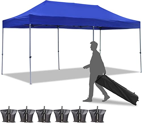 Diophros 10x20FT Pop up Canopy Tent, Instant Portable Folding Shelter Wedding Party Tent with Wheeled Bag Blue