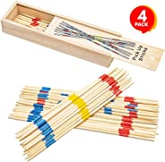 Gamie Wooden Pick Up Sticks Game, 4 Sets in Wood Boxes with Lids, Classic Pickup Sticks Game for Kids, Fun Development Learn