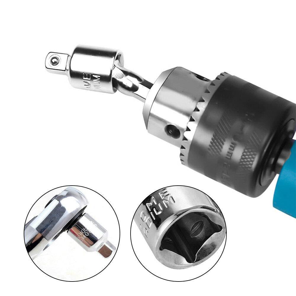 Supertool Juego de adaptadores de llave de vaso de extensi/ón hexagonal para taladro el/éctrico plateado