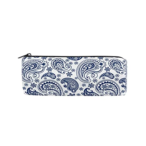 Amazon.com: Estuche para lápices, color azul y blanco, bolsa ...