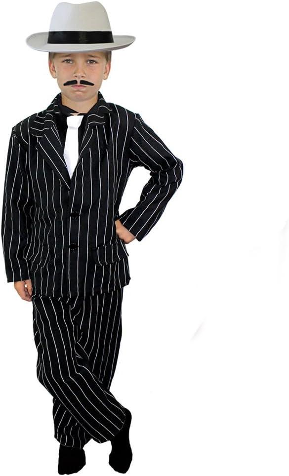 ILOVEFANCYDRESS Disfraz infantil de gánster años 20, con traje de rayas negro (chaqueta y pantalones), corbata blanca, sombrero blanco, para 4 a 14 años