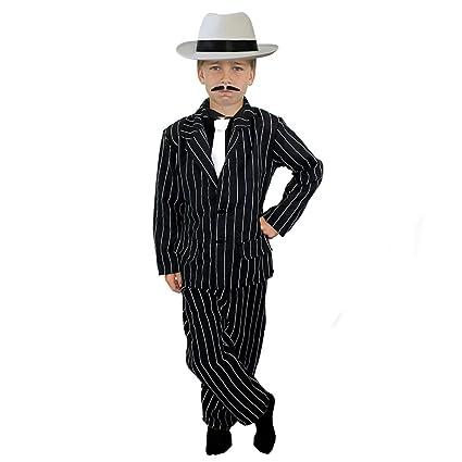 ILOVEFANCYDRESS Disfraz infantil de gánster años 20, con traje de rayas negro (chaqueta y pantalones), corbata blanca, sombrero blanco, para 4 a 14 ...
