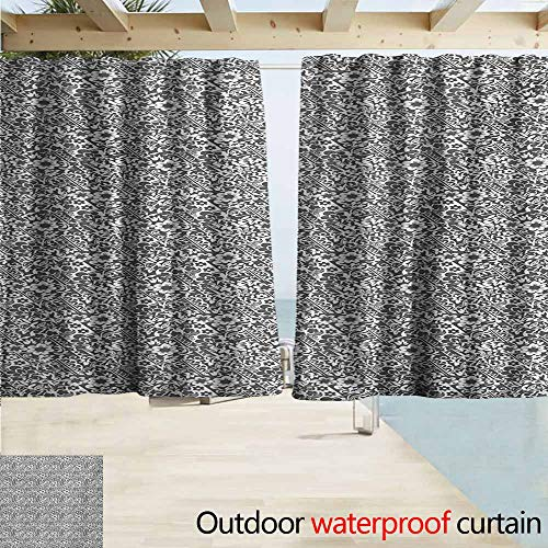 (AndyTours Outdoor Waterproof Curtains,Damask Cute Daisy Blossoms Paisley Inspired Details Rich Royal Antique Composition,Rod Pocket Energy Efficient Thermal Insulated,W72x63L Inches,Dark Taupe)