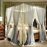 XRXY Mosquito Net Double-Layered Floor-Standing Thicken Mosquito Net/Bedroom Bold Bracket Encryption Mosquito Net/Creative Luxury Decoration Bed Mantle (4 Colors Available)