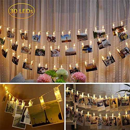 Dadiii 30 LED Photo Clip String Lights Christmas Lights for Hanging Photos, Pictures, Cards, Ideal Gift for Wedding, Party, Christmas Decoration, Powered by USB ( Warm Light ) (30 lights)
