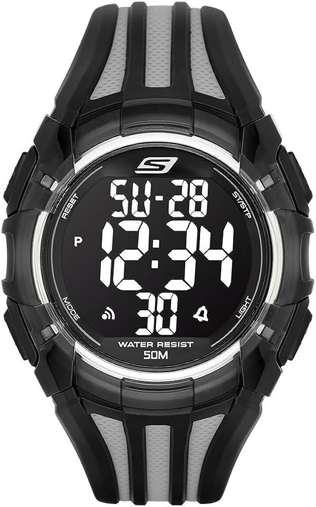 Skechers Men s El Porto Quartz Plastic and PU Digital Watch Color Black, 20 Model SR1006