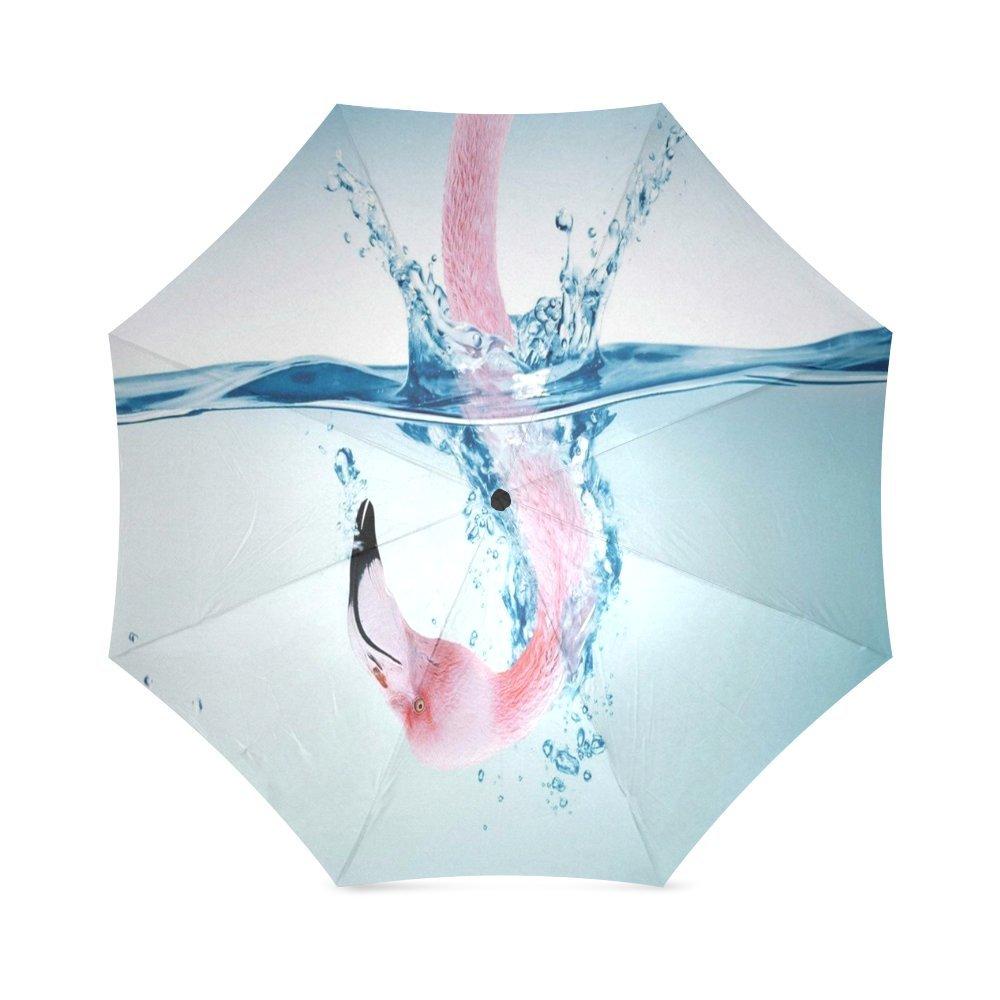 beaitufulピンクフラミンゴコンパクト折りたたみ式防雨防風旅行傘 B079FHBNFJ