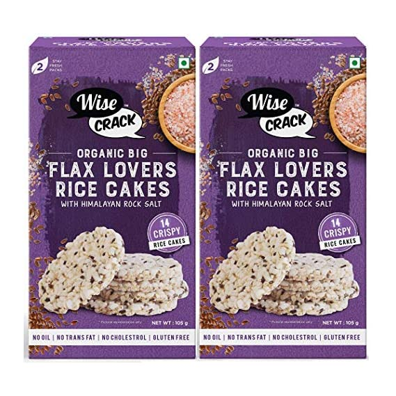 Wise Crack Organic Rice Cakes Flax Lovers Whole Grain Puffed Cracker, Crispy Healthy Snacks (210 gm), Pack of 2