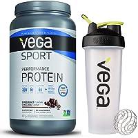 Vega Sport Protein Powder Chocolate with Shaker Bottle - Plant Based Vegan Protein Powder, BCAAs, Amino Acid, tart cherry, Non Dairy, Gluten Free, Non GMO (19 servings)