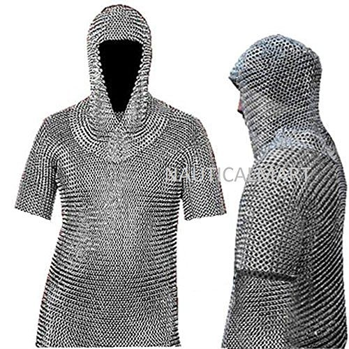 Medieval Chain Mail Shirt and Coif Armor Set (Full Size) Fit upto 3XL Long Shirt by NAUTICALMART