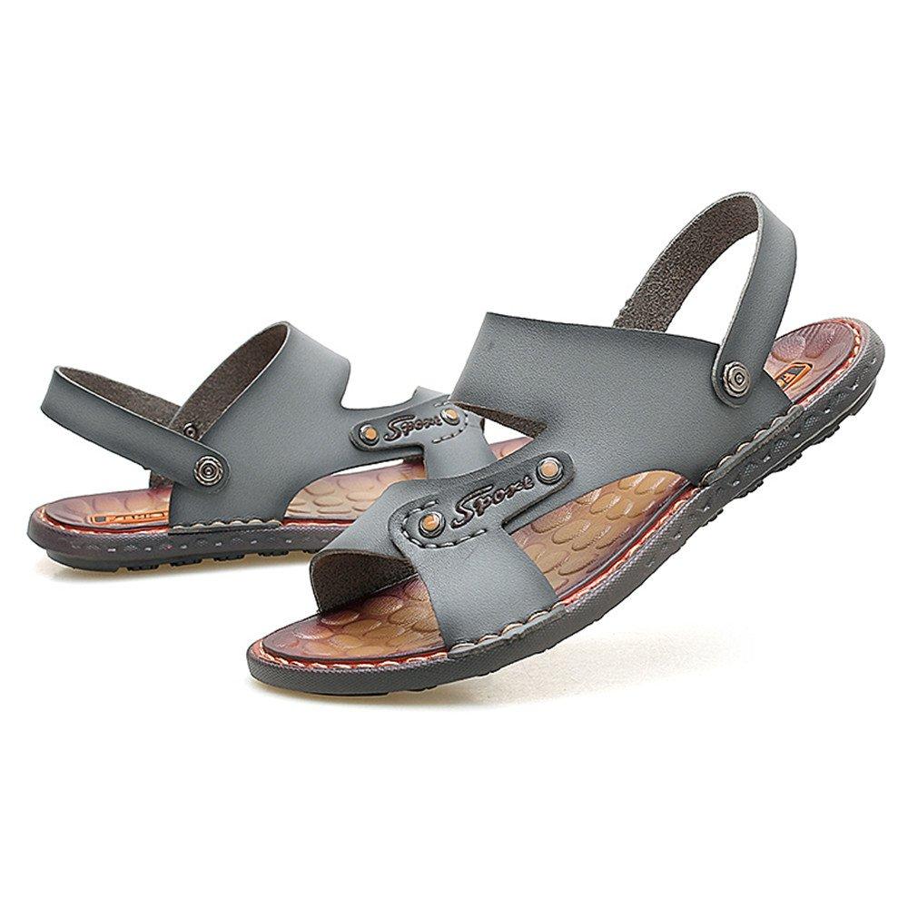 PU-Leder-Strand-Pantoffel-beiläufige Sandelholze der Männer Rutschfeste Weiche Männer Flache Schuhe justierbares Backless,für Männer Weiche Gray a96251