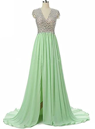 KaBuNi Womens Beaded Prom Dresses V Neck See Through Long Pageant Party Dress Green2