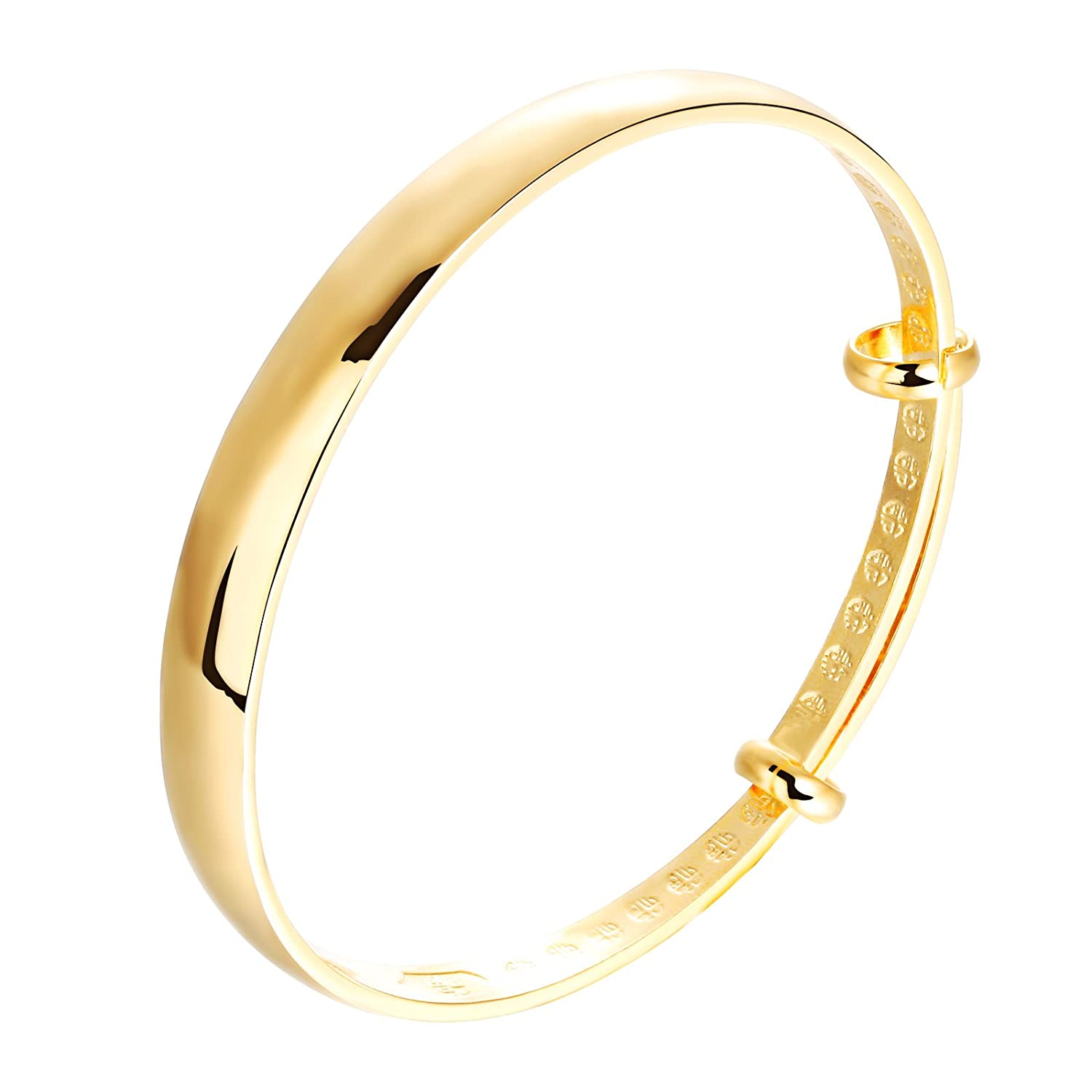 Scorpios Bystar Solid Yellow Gold Plated Smooth Torque Bangle Bracelet Adjustable bxTBR