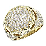 Mens Diamond Band Unique Large 14k Rose, White or Yellow Gold Pinky Ring 3ctw by Luxurman