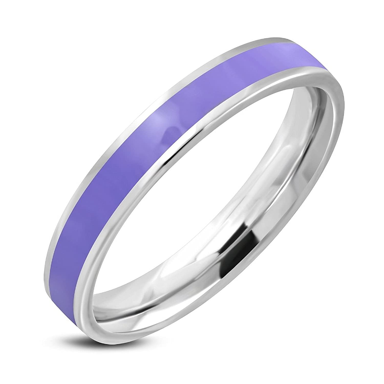 Stainless Steel 2 Color Purple  Violet Enameled Comfort Fit Flat Band Ring 2cccfd79cbd9