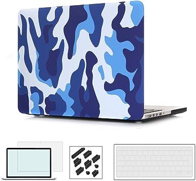 RYGOU 4 en 1 Estuche Duro de plástico Negro Mate con Teclado Protector de Pantalla de Cubierta para Macbook Pro 13