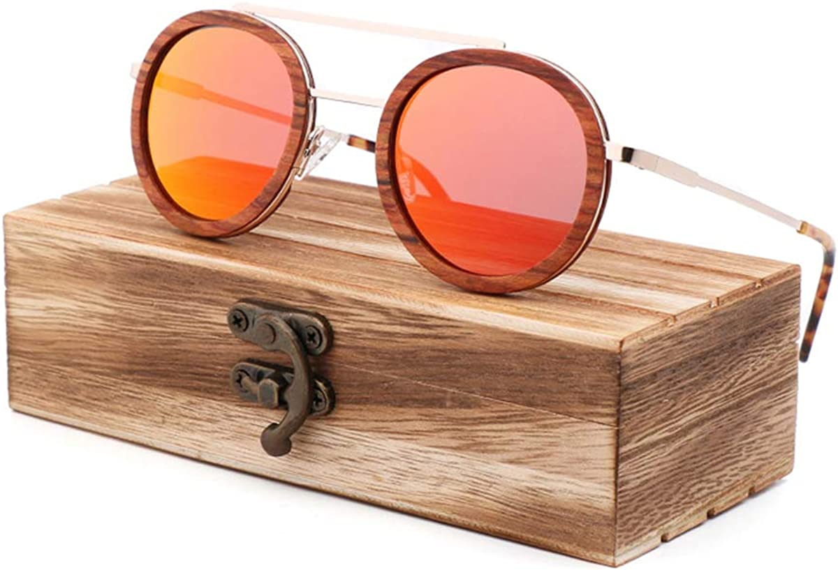 RTGreat Classic Fashion Trend New Red Wooden Sunglasses Des lunettes de soleil Metal Fashion Men And Women's Sunglasses Des lunettes de soleil Toad Mirror Woodcaseb