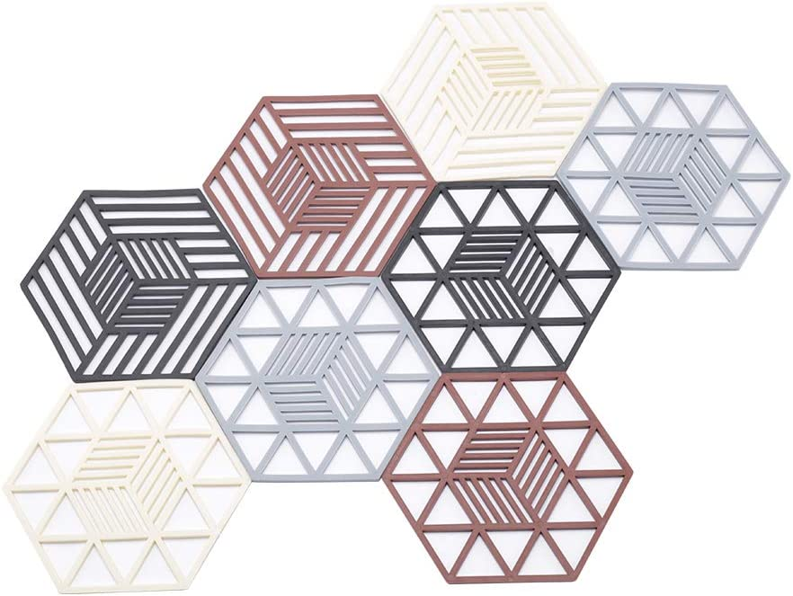 8 Pcs Hexagon Food Grade Kitchen Silicone Trivet Mats Silicone Trivet Set Silicone Mat for Kitchen Silicone Hot Pads Trivet Dish Pad Coaster Counter Mat Silicone Placemat Pot Holder