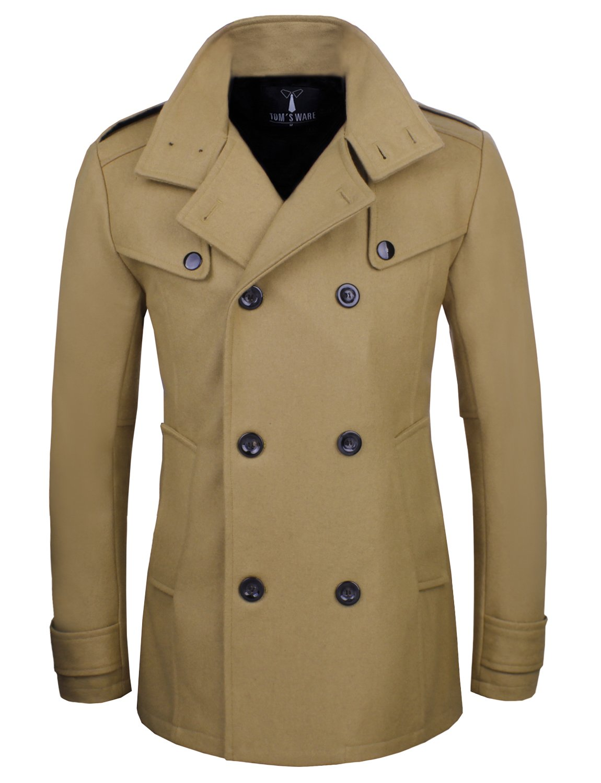 Tom's Ware Mens Stylish Fashion Classic Wool Double Breasted Pea Coat TWCC06-BEIGE-US M