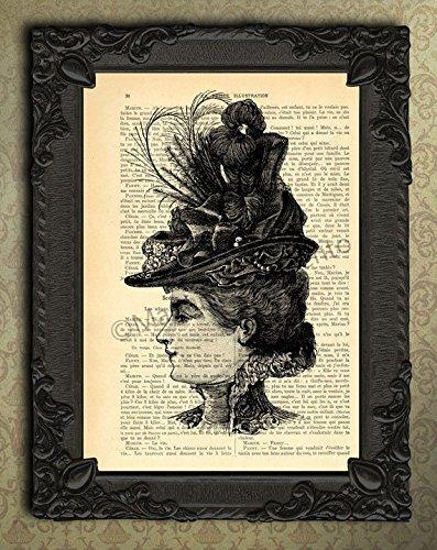 Victorian lady with feather hat portrait wall decor, antique illustration woman art (Victorian Woman Portrait)