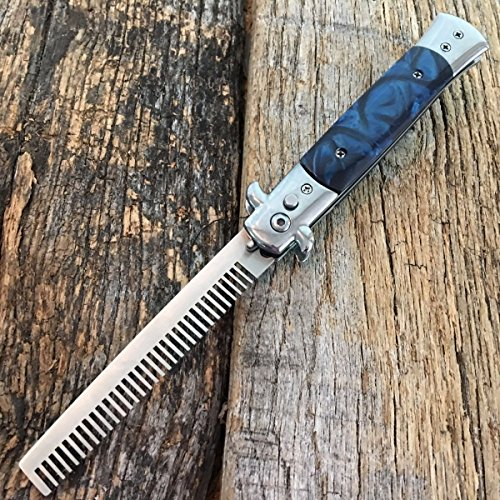 Automatic Push Button Folding Comb Switch blade Knife Looking Brush Blue Pearl (Tj Buttons)