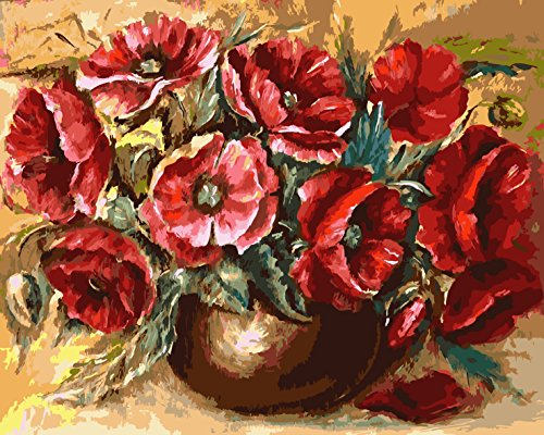 LB Paint by Numbers Kits for Adults DIY Painting Canvas , Floral Themed Red Poppy Flowers Green Leaves in Vase, 16x20 Inches Unframed