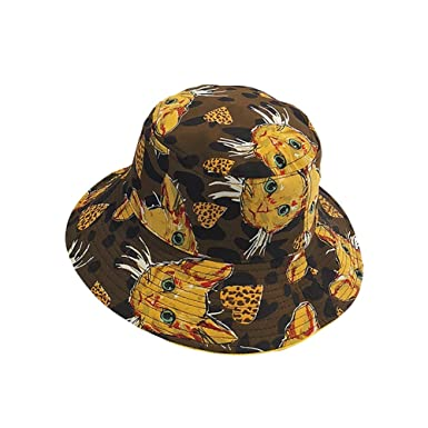 f733a4be05a93d Leisial Double-Sided Wearable Outdoor Bucket Hat with Cartoon Cate Printing Fisherman  Hat Boonie Hunting