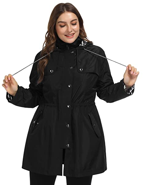 diverse styles new photos best selection of 2019 Hanna Nikole Women's Plus Size Lightweight Raincoats Lined Outdoor Hooded  Rain Jacket Windbreaker