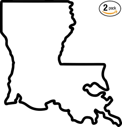 Amazon Com Louisiana Map Outline Black Set Of 2 Premium