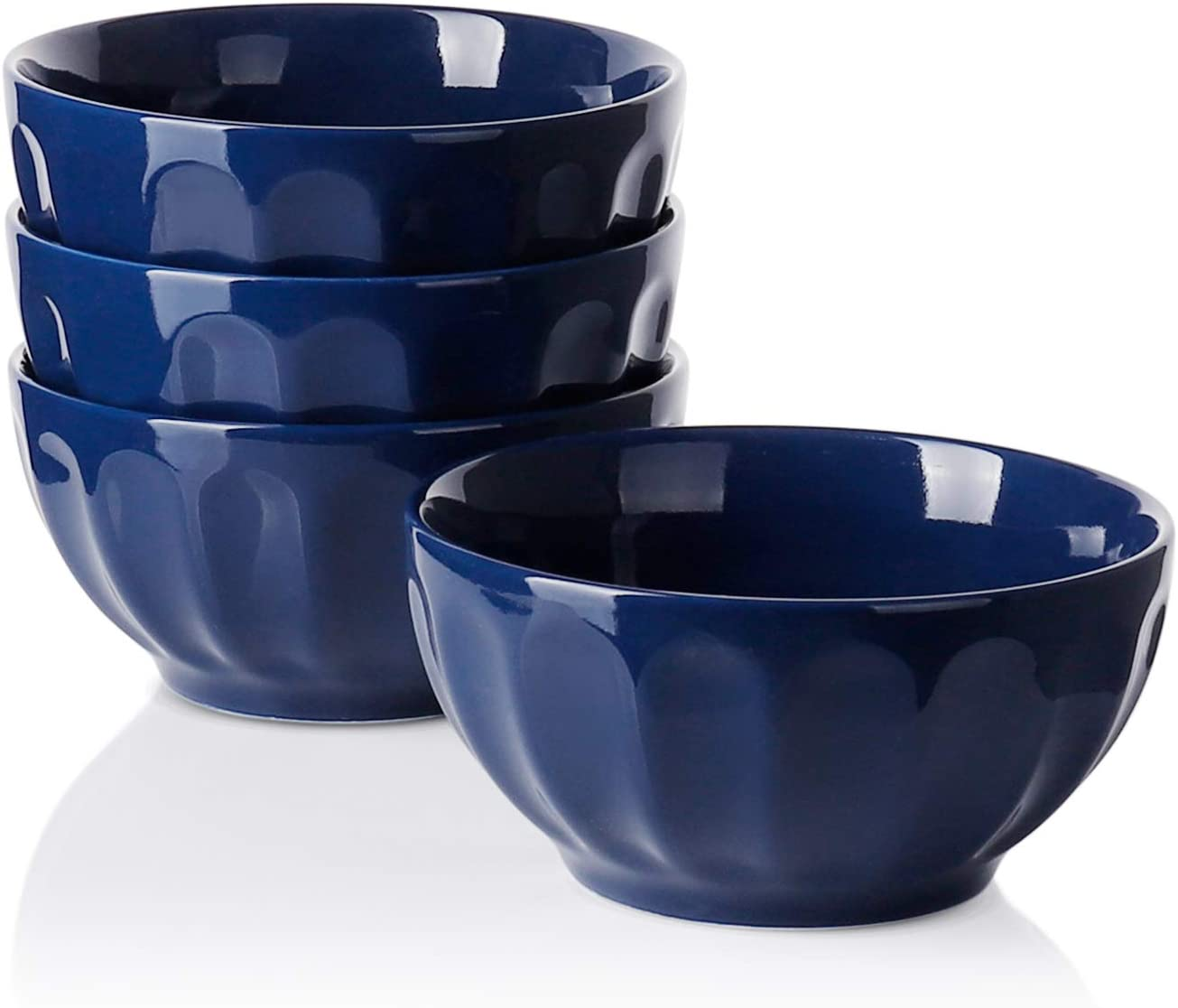 Sweese 106.103 Porcelain Fluted Bowls - 26 Ounce for Cereal, Soup and Fruit - Set of 4, Navy