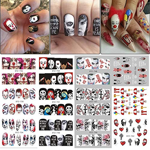 12 sets Day of the dead dia de los muertos halloween party NAIL DECALS killer clown nightmare before Christmas black widow zombie pin up girl NAIL WRAP gothic decor vampire decor black cat NAIL FOILS -
