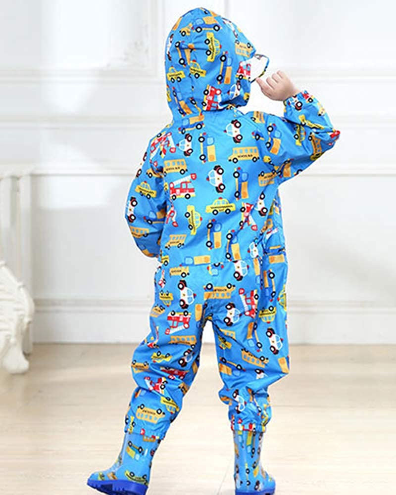 GUOCU Kids Rain Suit All-in-One Waterproof Puddle Suits Jumpsuit Muddy Suit Coverall Rainwear
