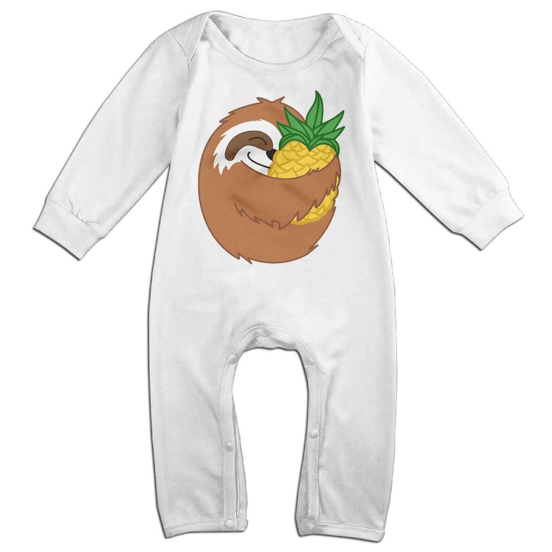 Zmli Sloth Hug Pineapple Long Sleeve Newborn Baby Romper Jumpsuit Onesies for 6-24 Months Bodysuit