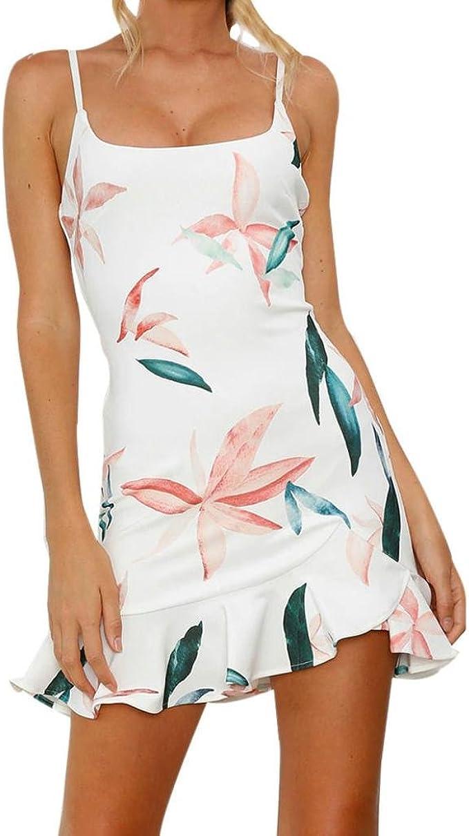 Longra Damen Sommerkleider Strandkleider Kurz Minikleid mit