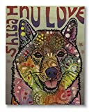Dean Russo Shiba Inu Luv Printed on 11x14 Wood Pallet Slats Wall Art Sign Plaque Distressed Design