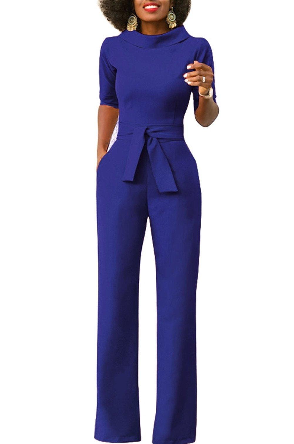 KISSMODA Women's Elegant Lapel Wide Leg Boot Cut Jumpsuit with Belt Blue X-Large