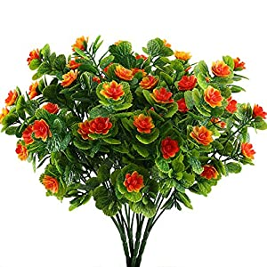 Nahuaa 4PCS Artificial Flowers Fake Plastic Plants Greenery Bushes Orange Daffodils Bundles Indoor Outdoor Table Centerpieces Arrangements Home Kitchen Office Hanging Baskets Spring Decorations 42
