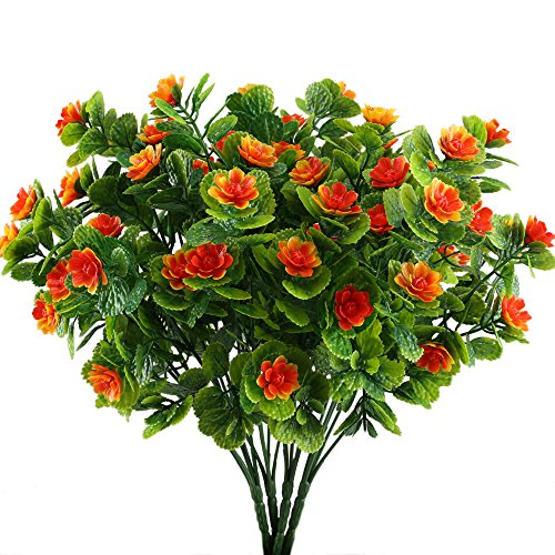Nahuaa 4PCS Artificial Flowers Fake Plastic Plants Greenery Bushes Orange Daffodils Bundles Indoor Outdoor Table Centerpieces Arrangements Home Kitchen Office Hanging Baskets Spring Decorations