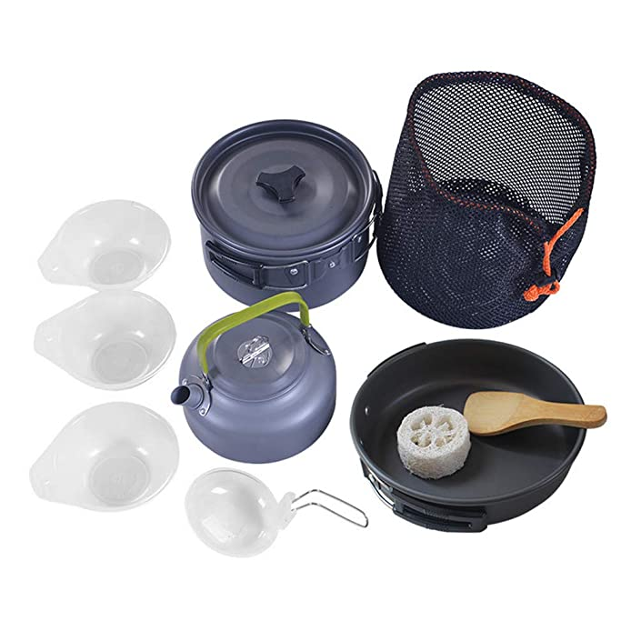 Corrosion-Resistant Portable Hard-Anodized Aluminum Kettle Boiler Kit Outdoor Cookware Odorless Camping Cookware