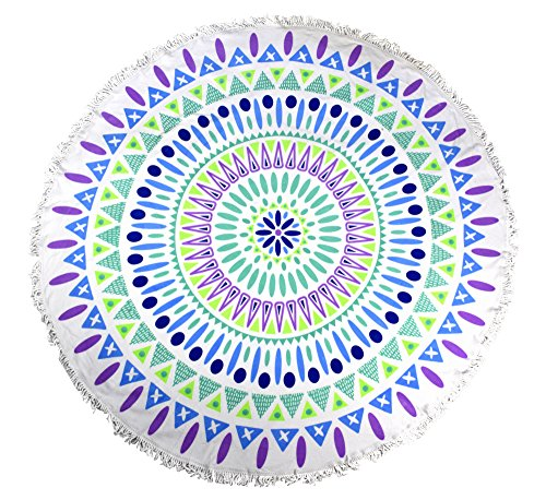 Peach Couture Thick Material Round Yoga Mat Mandala Beach Towel Super Water Absorbent Tapestry Multi Purpose Towel Boho Gypsy Beach Blanket with Fringe Tassels Plum Navy (Plum Navy)